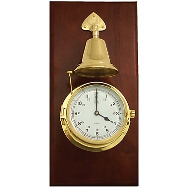 Bey-Berk Brass/Mahogany Striking Clock With Bell