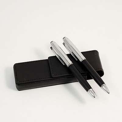 Bey-Berk Leather Pen Pouch With Roller Ball and Ball Point Pens, Black
