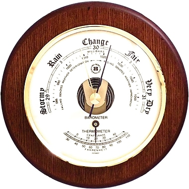Bey-Berk Brass and Cherry Wood Barometer/Thermometer