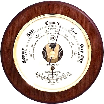 Bey-Berk Brass and Cherry Wood Barometer/Thermometer