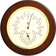 Bey-Berk Brass and  Cherry Wood Thermometer/Hygrometer
