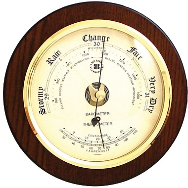 Bey-Berk WS075 Brass and Cherry Wood Barometer/Thermometer