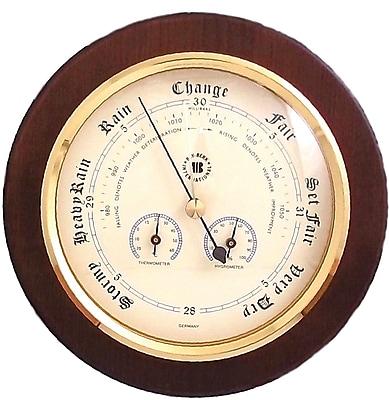 Bey-Berk Brass and Cherry Wood Barometer/Thermometer/Hygrometer