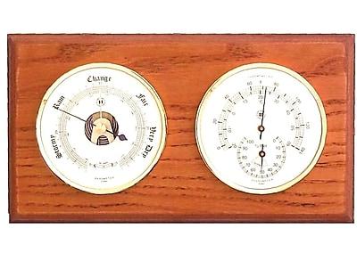 Bey-Berk Brass and Oak Barometer/Thermometer/Hygrometer