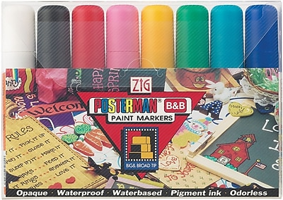 Zig Posterman Wide Point Paint Marker, Assorted, 8/Pack 130875