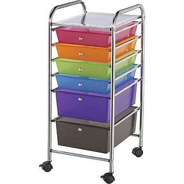 Blue Hills Studio Storage Cart W/6 Drawers, Multi-Color
