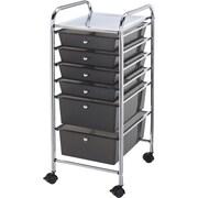 Blue Hills Studio Storage Cart W/6 Drawers, Smoke