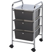 "Blue Hills Studio 13"" x 26"" x 15.5"" Storage Cart W/3 Drawers, Smoke"