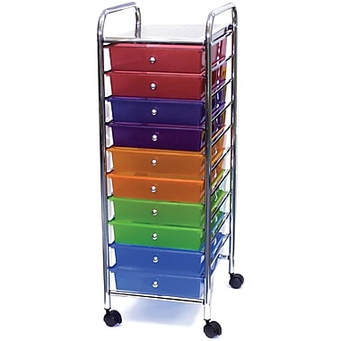 Advantus Cropper Hopper Home Center Plastic Storage Drawer Cart, 10 Drawer, Multi