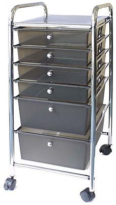 Advantus® Cropper Hopper Home Center Rolling Cart, 6 Drawer, Smoke