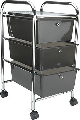 Advantus® Cropper Hopper Home Center Rolling Cart, 3 Drawer, Smoke