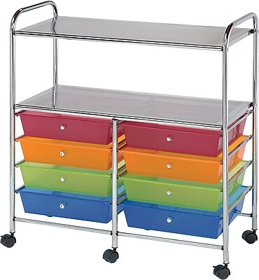 Blue Hills Studio Double Storage Cart W/8 Drawers, Multi, 31.74