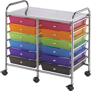 Blue Hills Studio Multi-Color Double Storage Cart, W/12 Drawers