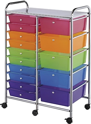 Blue Hills Studio Multi-Color Double Storage Cart, W/15 Drawers