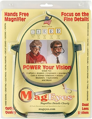 MagEyes Magnifier, Lenses #5 (2.25X) & #7 (2.75X)-Dark Green