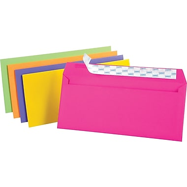 Staples EasyClose Neon Brights Color Envelopes, #10, Assorted, 4 1/8