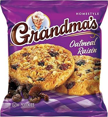Grandma's® Homestyle Oatmeal Raisin Cookies, 2.5 oz. Bags, 60 Bags/Box