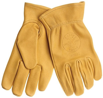 Klein Tools® Work Gloves, Deerskin, Natural Light Tan, Medium, 1 Pair