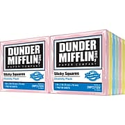 """Dunder Mifflin Sticky Squares 3"""" x 3"""", Assorted Diversity Colors, 12 Pads/Pack"""