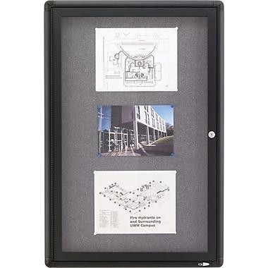 Quartet® Enclosed Radius Fabric Bulletin Board, Graphite Frame, 24