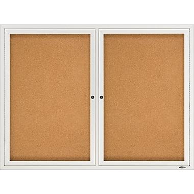 Quartet® – Tableau d'affichage fermé en liège, 48 po x 36 po, 2 portes, cadre en aluminium