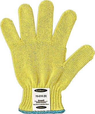 Ansell® GoldKnit® 70-215 Medium Weight Gloves, Yellow, Size 7 (012-70-215-7)