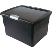 Staples Plastic Hinged File Box with Lid, Black