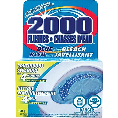2000 Flushes Automatic Toilet Bowl Cleaner, Blue plus Bleach