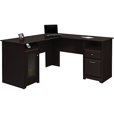"Bush® Cabot Collection 60"" L-Desk, Espresso Oak"