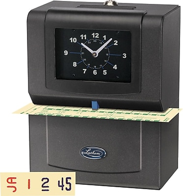 Lathem Automatic Print Punch Card Time Clock, Black (4001)