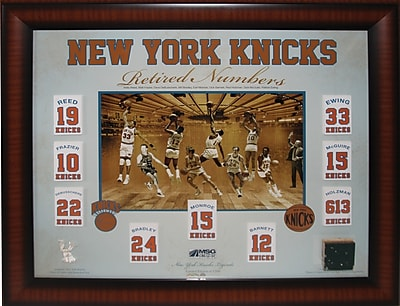 New York Knicks Floating Retired Numbers Banners framed Collage 20x24