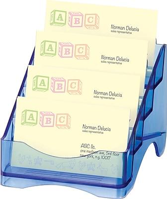 Officemate® Blue Glacier 4 Tier Business Card Holder