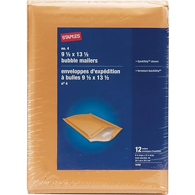 Staples® - Enveloppes à bulles autocollantes, n° 4, 9 1/2 po x 13 1/2 po, paq./12 - Pull-Tab Strip (bande à tirette)