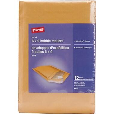 Staples® - Enveloppes à bulles autocollantes, n° 0, 6 po x 9 po, paq./12 - Pull-Tab Strip (bande à tirette)