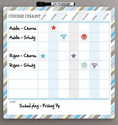 Quartet® Dry Erase, Magnetic, Children's Chore Chart, Frameless, 11.75