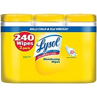 3-Pack Lysol Disinfecting Wipes, Lemon & Lime Blossom 80/Box Deals