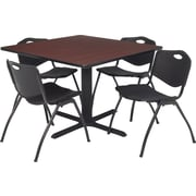 "Regency Seating Cain 42"" Square Table- Mahogany w/ 4 'M' Stack Chairs- Black"