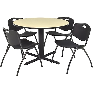 Regency Seating Cain 42 in Square Table, Maple with 4 'M' Stack Chairs, Black (TB42RNDPL47BK)