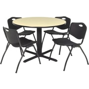 Regency Seating Cain 42 in Square Table- Maple with 4 'M' Stack Chairs- Black