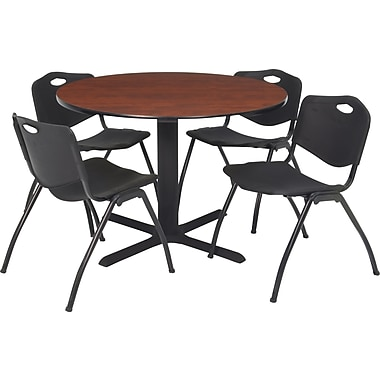 Regency Seating Cain 42 in Square Table, Cherry with 4 'M' Stack Chairs, Black (TB42RNDCH47BK)