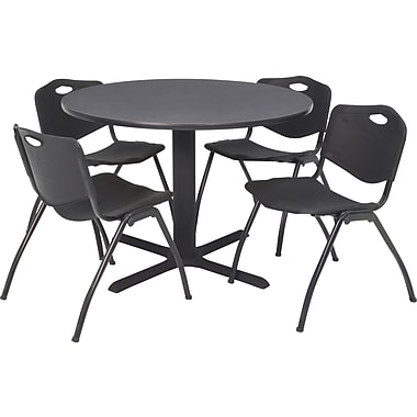 Regency Seating Cain 42 in Square Table, Grey with 4 'M' Stack Chairs, Black (TB42RNDGY47BK)