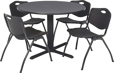 Regency Seating Cain 42 in Square Table- Grey with 4 'M' Stack Chairs- Black
