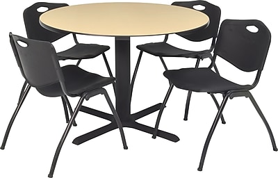 Regency Seating Cain 42 in Square Table- Beige with 4 'M' Stack Chairs- Black