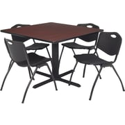 "Regency Seating Cain 36"" Square Table- Mahogany w/ 4 'M' Stack Chairs- Black"