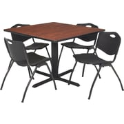 "Regency Seating Cain 36"" Square Table- Cherry w/ 4 'M' Stack Chairs- Black"