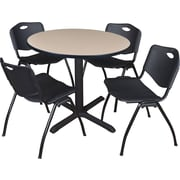 "Regency Seating Cain 36"" Round Table- Beige w/ 4 'M' Stack Chairs- Black"