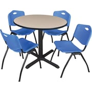 "Regency Seating Cain 36"" Round Table- Beige w/ 4 'M' Stack Chairs- Blue"