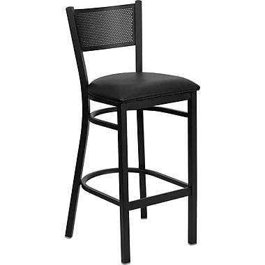 Flash Furniture Hercules Series Black Grid Back Metal Restaurant Bar Stool, Black Vinyl Seat