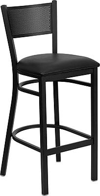Flash Furniture HERCULES Series Black Grid Back Metal Restaurant Bar Stool, Black Vinyl Seat