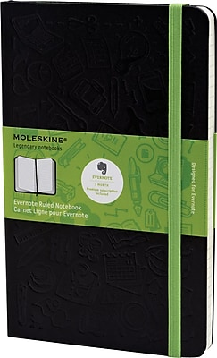 Moleskine Evernote Smart Notebook, Large, Ruled, Hard Cover, 5
